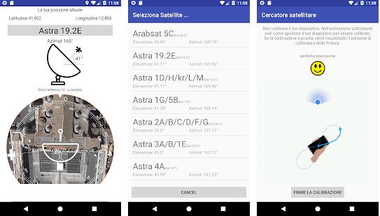 Puntare la parabola con android