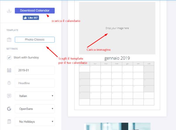 crea un Calendario Personalizzato Gratis