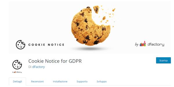 GDPR WordPress con notice cookie