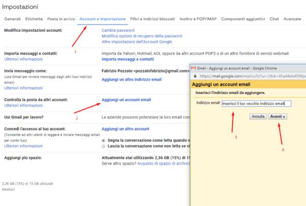importare email da gmail