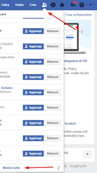Eliminare tutte le richieste di amicizia inviate ricevute su Facebook passaggio 1