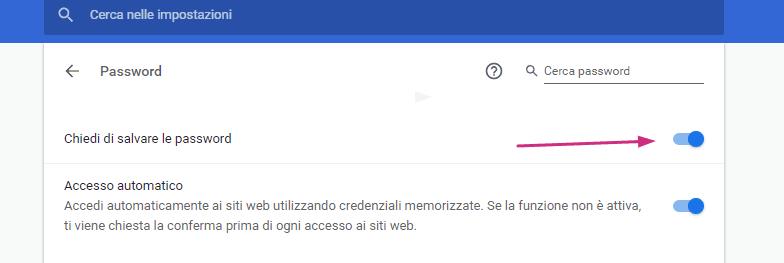 Come salvare una password su Chrome due