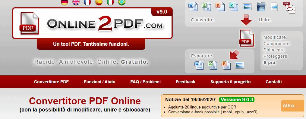 Rimuovere Pagine PDF con online2pdf