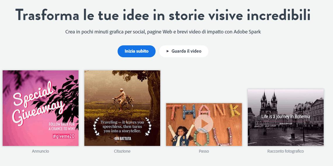 adobe spark Programmi Di Grafica Online