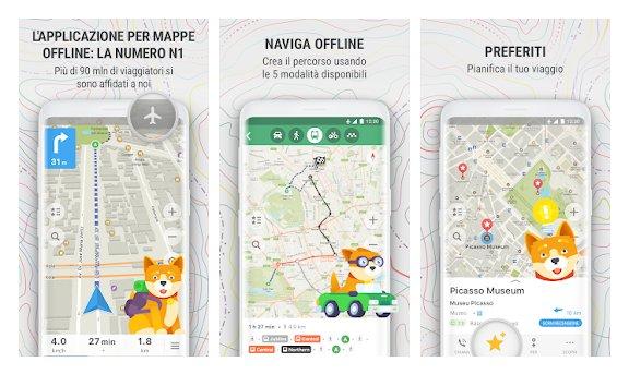 Applicazioni di Trekking con maps.me