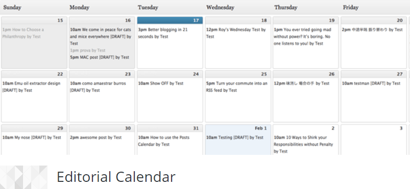 editor calendar per automatizzare wordpress