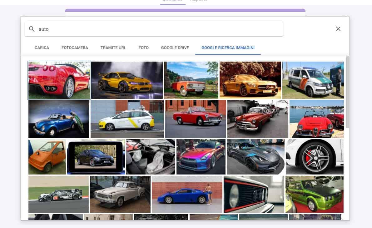 carica immagini con google form