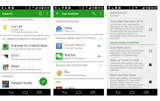Greenify app per velocizzare smartphone android