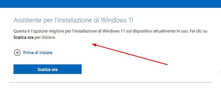 Utilizzare l'Assistente d'installazione di Windows 11.
